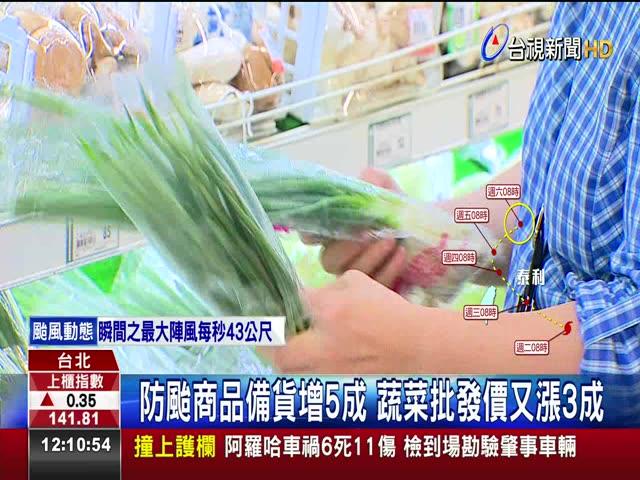 防颱商品備貨增5成 蔬菜批發價又漲3成 颱風前夕開市搶菜 高麗菜.小白菜全漲價