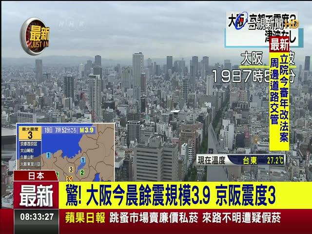 驚! 大阪今晨餘震規模3.9 京阪震度3