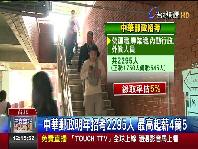 中華郵政明年招考2295人 最高起薪4萬5