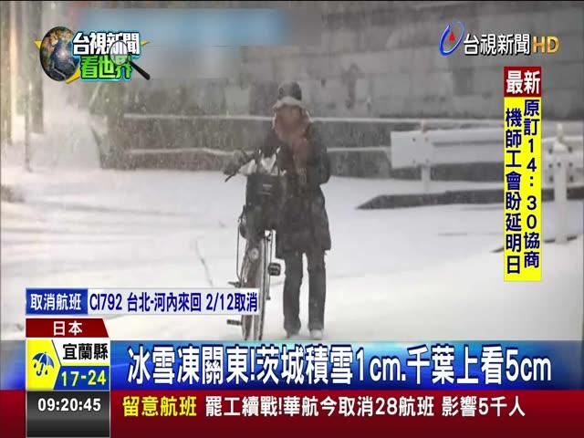 冰雪凍關東!茨城積雪1cm.千葉上看5cm
