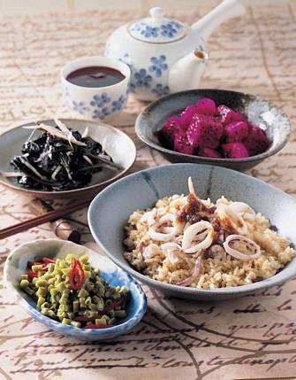烤花枝飯&麻油紅鳳菜
