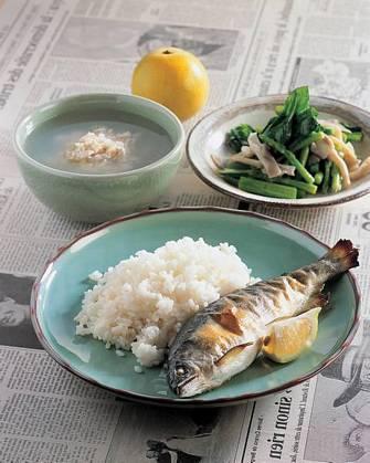 烤香魚飯&袖珍菇油菜花