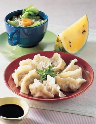 韭黃蝦仁水餃&高麗菜苗湯