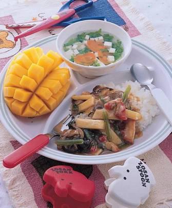 廣州燴飯&青菜豆腐湯&芒果