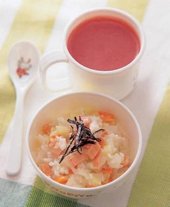 鮭魚燉飯&西瓜汁