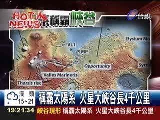 稱霸太陽系火星大峽谷長4千公里