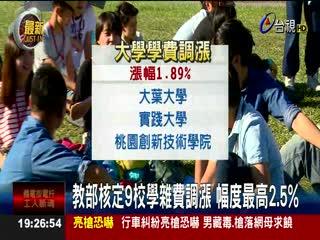 教部核定9校學雜費調漲幅度最高2.5%