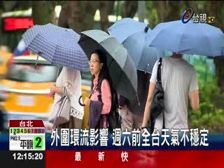 巨爵今減弱為熱帶性低氣壓全台有雨