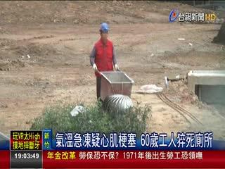 氣溫急凍疑心肌梗塞60歲工人猝死廁所