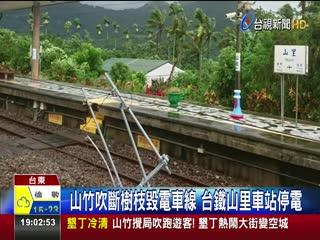 山竹吹斷樹枝毀電車線台鐵山里車站停電