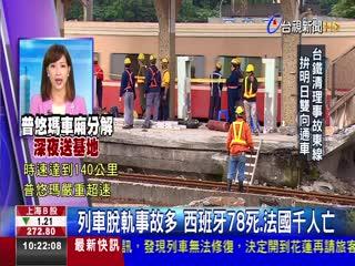 列車脫軌事故多 西班牙78死.法國千人亡