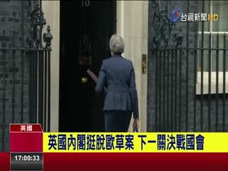 英國內閣挺脫歐草案下一關決戰國會