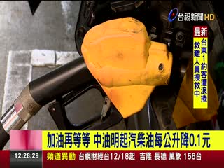 加油再等等中油明起汽柴油每公升降0.1元