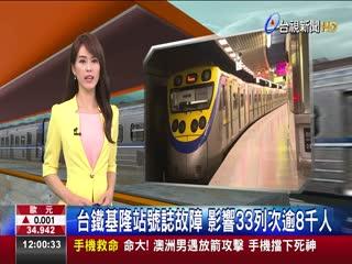 台鐵基隆站號誌故障影響33列次逾8千人